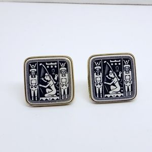 Other - 1970s Egyptian Revival Pressed Glass Cufflinks